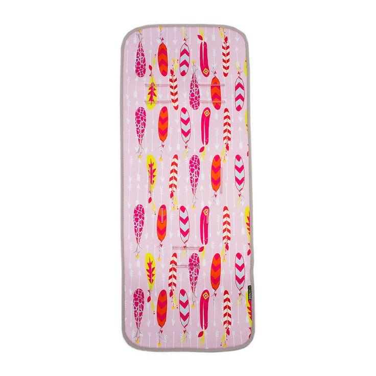 Colchoneta Recta rosa con plumas de colores. #colchonetas #Kiwisac #sillapaseo