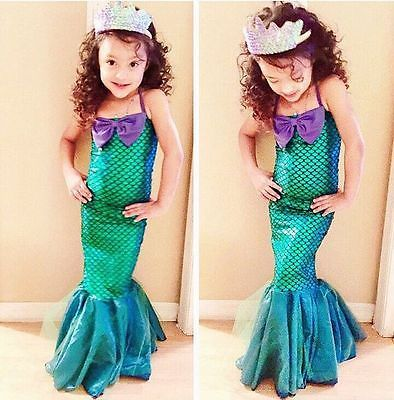 Kids Ariel Sequin Little Mermaid Set Girls Princess Dress Up Party Costume UK One-piece Swimsuit Biquini