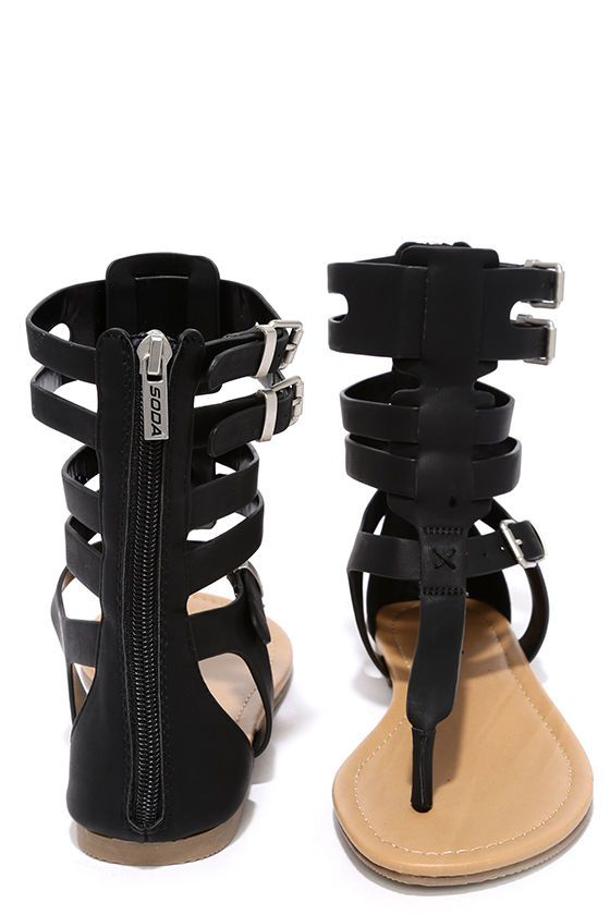 Roman Holiday Black Gladiator Sandals at Lulus.com!