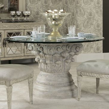 American Drew Jessica McClintock Boutique Round Glass Dining Table