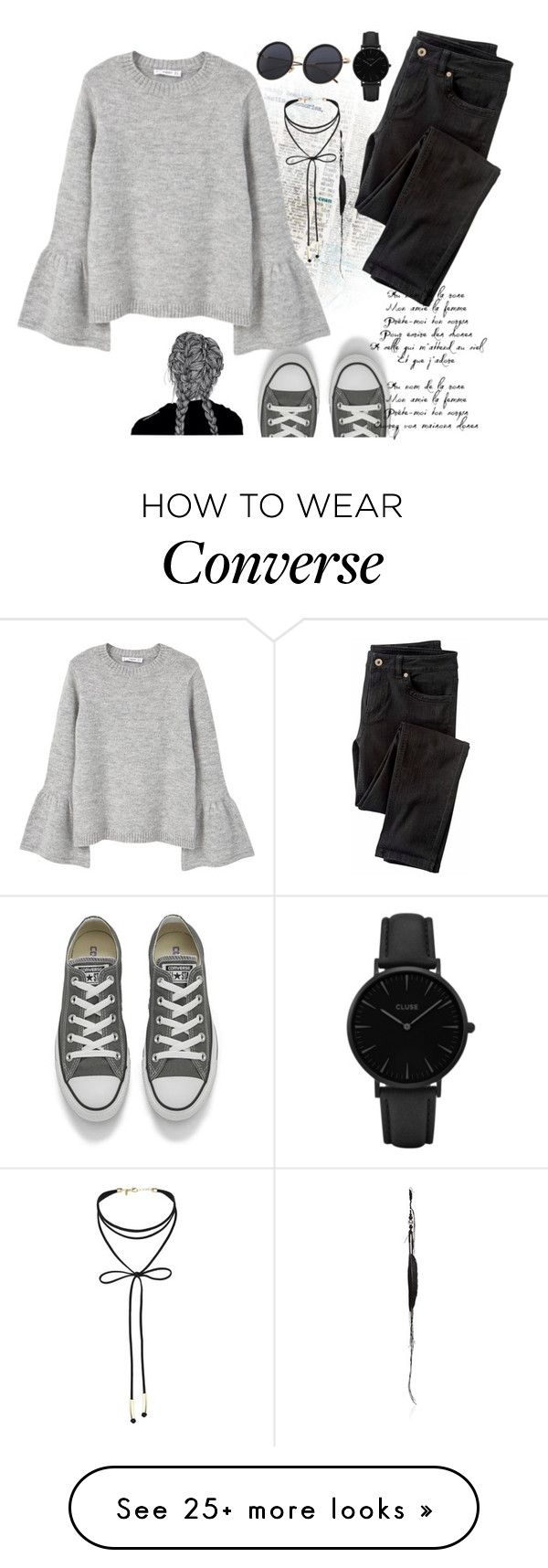 """""""outfit#41"""" by fantafarawla on Polyvore featuring Converse, MANGO, Wrap, CLUSE, Ann Demeulemeester and Miss Selfridge"""