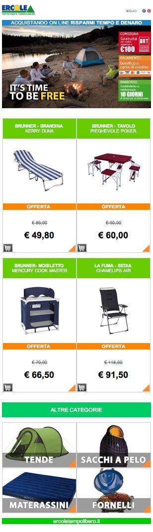 """IT'S TIME TO BE FREE - Ercole Tempo libero http://www.ercoletempolibero.it https://www.facebook.com/ErcoleTuttoperilTempoLibero ERCOLE SU FB mettete """"mi piace"""" sulla pagina Ercole di facebook #mipiace #camping #pleinair #facebook #tende #spot #mountain #sea #campeggio #materassini #sdraio #cucinotti #sedie #tende #fornelli"""