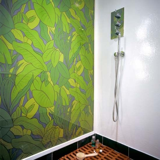 Green Wallpaper Behind Perspex In Shower Bathroom