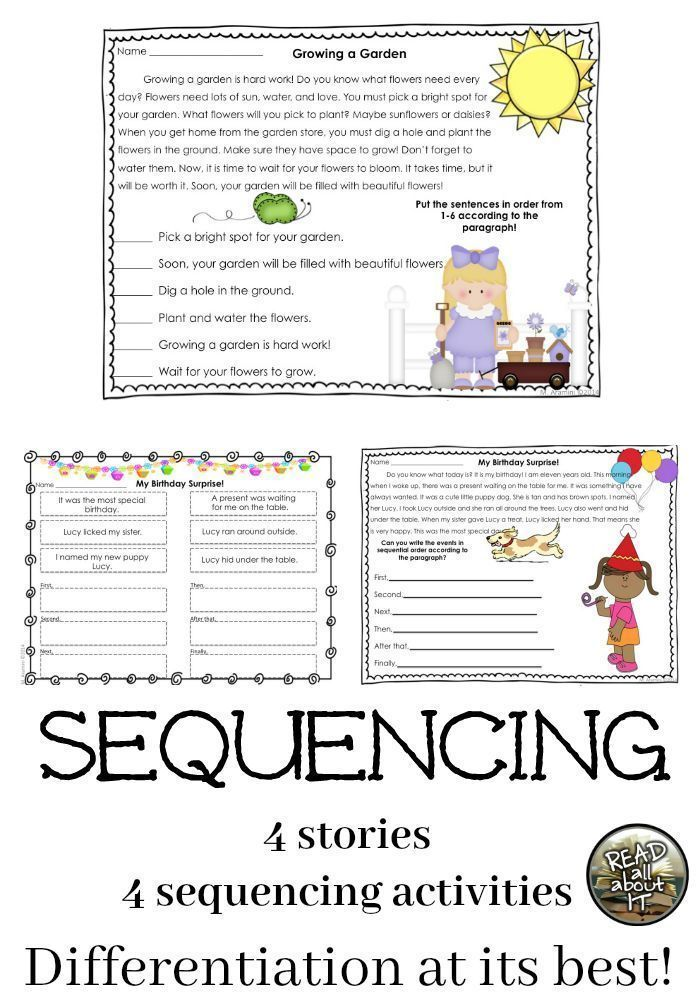 Sequential Order Activities For First And Second Graders Sequencing Activities Differentiated Reading Passages Chronological Order Activities Chronological order worksheets