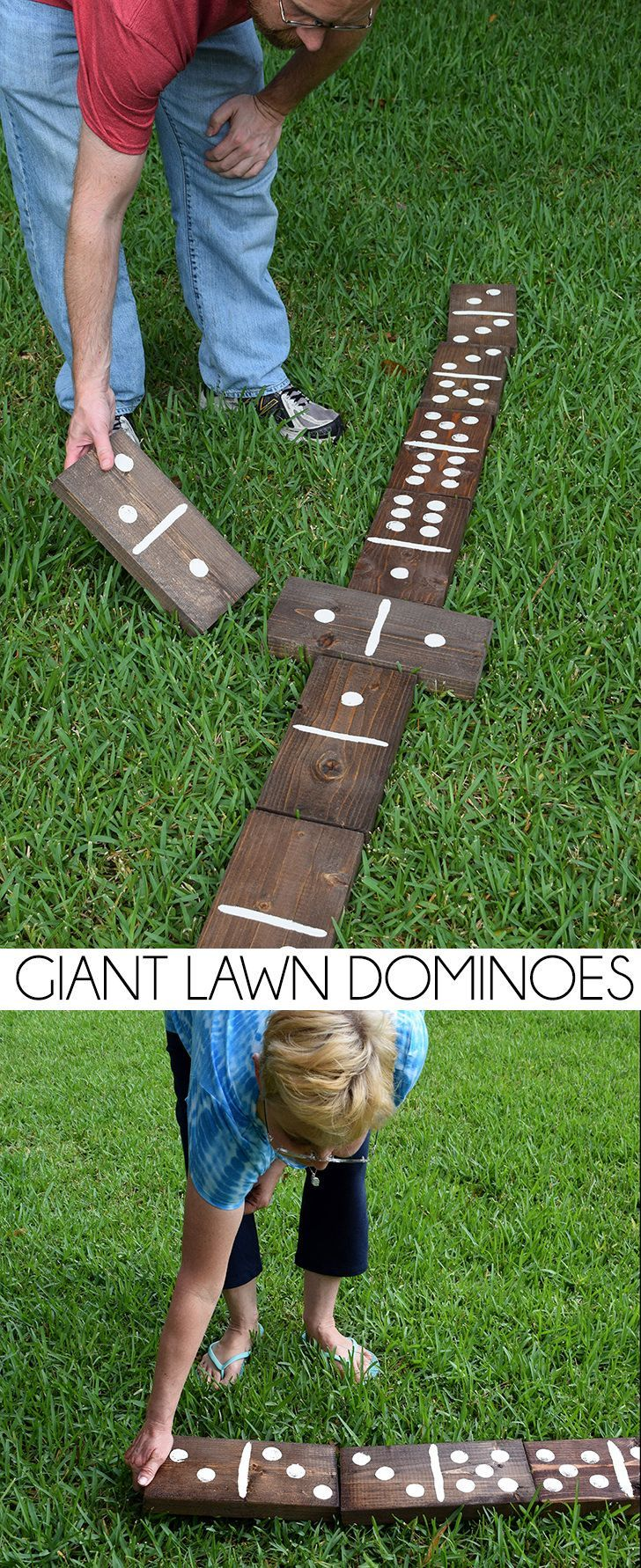 Make these Giant Lawn Dominoes for your next backyard party, plus really great ideas for fun DIY backyard party games to try.