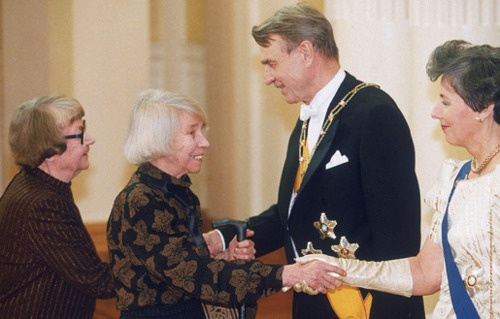 Tove Jansson is a Finlandswedish author and illustratior. She is most well known as the creator of the Moomin books.  miranna:    Tove Jansson with her life partner Tuulikki Pietilä at the President's Independence Day reception in 1992.