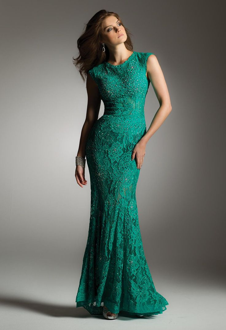 LACE STUDDED DRESS WITH SWEEPING TRAIN