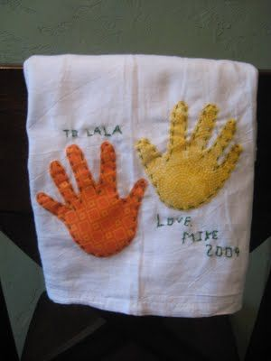 hand print dish towels