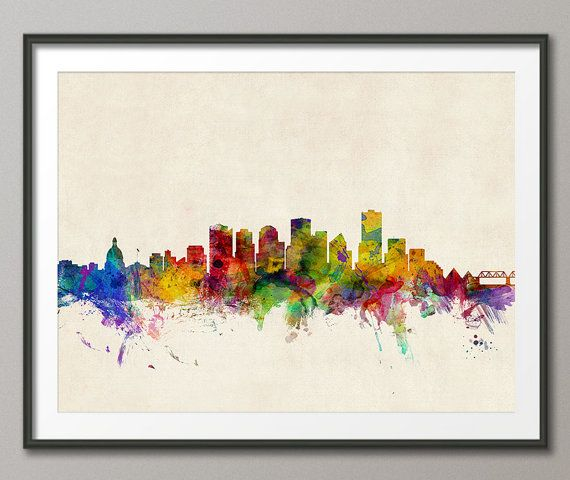 Edmonton Canada Skyline Art Print 350 by artPause on Etsy I was thinking that I would use this as inspiration for a future art project. Or buy it!