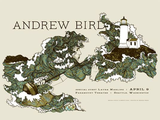 Andrew Bird by Frida Clements. See more great gig posters here: http://www.creativebloq.com/design/gig-posters-912720Frida Clemente, Screens Prints, Picture-Black Posters, Birds Posters, Paramount Theatres, Gig Posters, Posters Design, Gigposters Com, Andrew Birds