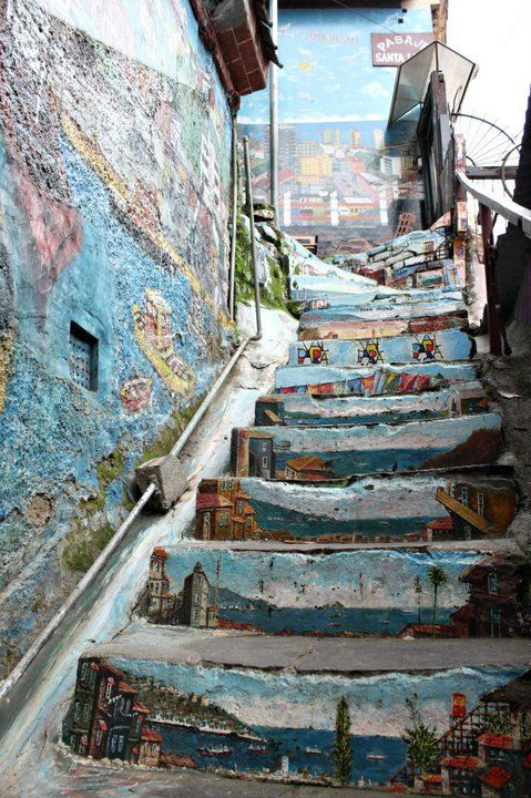 CHILE   Painted Landscape Stairs inValparaiso, Chile.