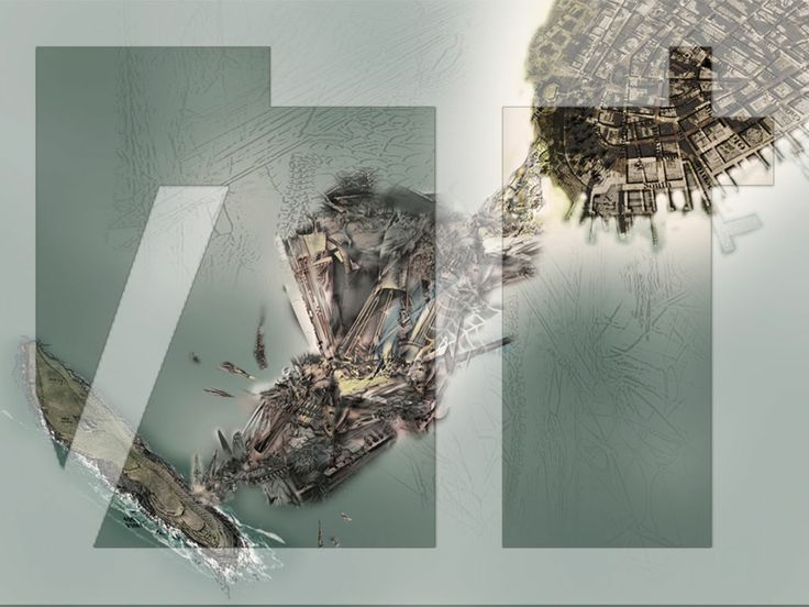 A digital narrative drawing depicting xenopoetics of a future architectural system, excavated and reconstructed as an island at the site of Castle Clinton, New York