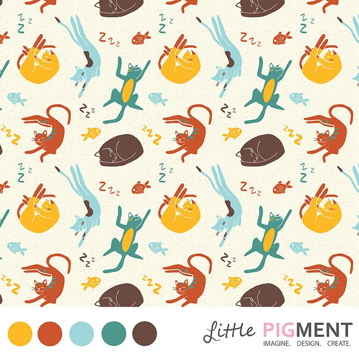 #SurfacePatternDesign #Cats #SleepingCats #SurfacePattern #LittlePigment