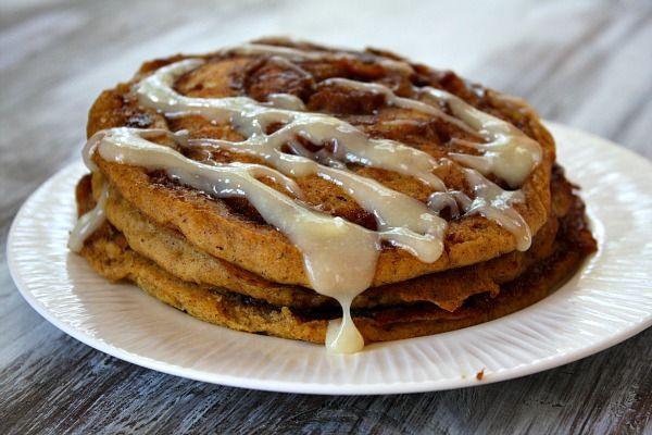 Pumpkin Cinnamon Roll Pancakes!