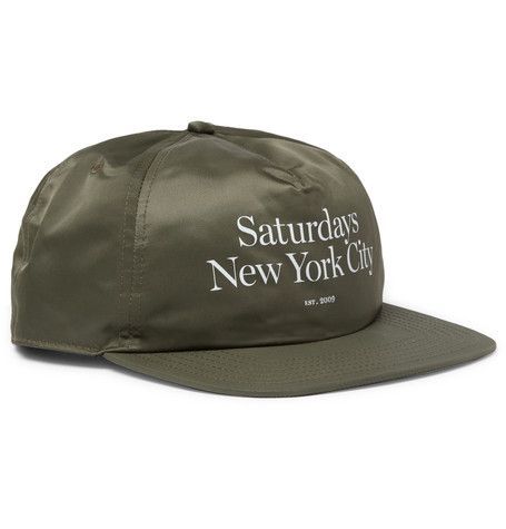 SATURDAYS SURF NYC SATURDAYS NYC - STANLEY MILLER PRINTED SHELL BASEBALL CAP - GREEN. #saturdayssurfnyc #