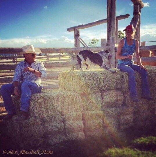 Amber Marshall with the wrangler on set of Heartland #iloveheartland