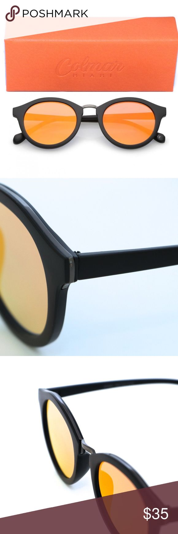 Charming Sunglasses Looking cute it is not a problem if you wear these charming shades, they come in black frames with black details on top and features orange mirrored lenses with uv protection, perfect for a beach day or a Sunday brunch.  • 400 UV Protection. • Material: synthetic and metal. • Width: 2.2 inches, 70mm. • Length: 5.9 inches, 149mm. • Lenses Width: 2 inches, 51mm. • Lenses length: 2.2 inches, 47mm.  These Sunglasses comes with a custom leather case with a microfiber cloth…