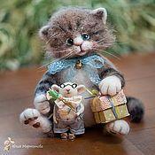 Купить Котенок Андрюша.. - серый, котенок, котенок из шерсти, котенок валяный, трогательный, новый год 2015