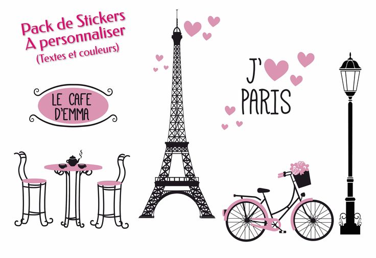 """Pack de 5 stickers personnalisés sur le thème de PARIS, contenant la Tour Eiffel, le café avec enseigne, le réverbère, la bicyclette, le """"j'aime"""" avec texte à personnaliser.  12 coloris différents : choisir 2 couleurs Ses stickers sont aussi vendus séparément PRIX : 59,90€ Plus de détails sur : http://www.graphik-spirit.fr/stickers/473-pack-de-stickers-paris-personnalise.html"""