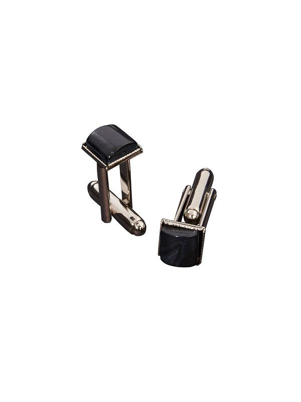 Classic and elegant bullet back cufflinks with black stone set - Delsiena