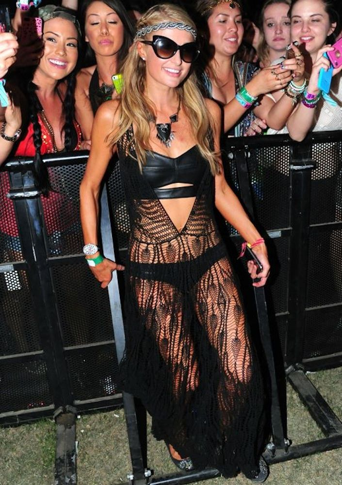 """Paris Hilton- Day 1 Week 2 in a leather clad, cut-out bikini with a black lace """"cover up"""""""