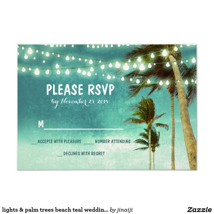 lights & palm trees beach teal wedding RSVP cards Beach wedding RSVP cards with string of lights hanging on the tropical palm trees on the beach.Teal ombre wedding reply cards. ------------Please contact me if you need help with customization or have a custom color request. ---------- If you push CUSTOMIZE IT button you will be able to change the font style, color, size, move it etc. it will give you more options!