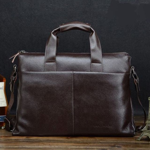 2016 hot New Fashion Men's PU leather Briefcase Fashion Handbags for Man Sacoche Homme Marque Male Bag for A4 Documents Black
