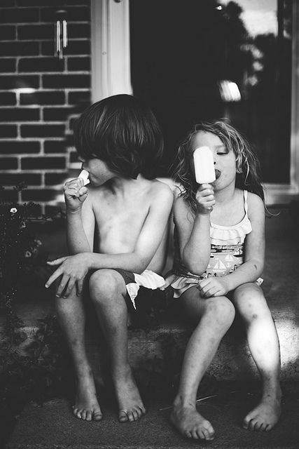 summerBrother Sister Playing Baby, Red House, Summer Day, Cream Man, Smile Child Black White, Ice Cream, Black White Photography Family, Front Porches, Summer Treats