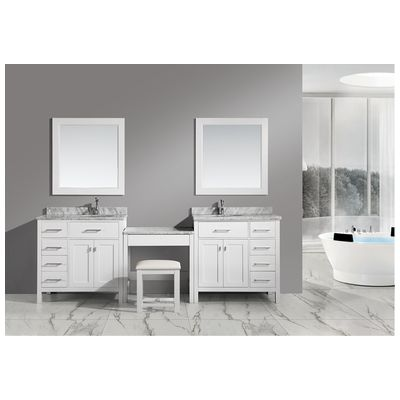 Design Element Two London 36 Single Sink Vanity Set In White With One Make Up Table In White Dec076d W Dec076d L W Mut W