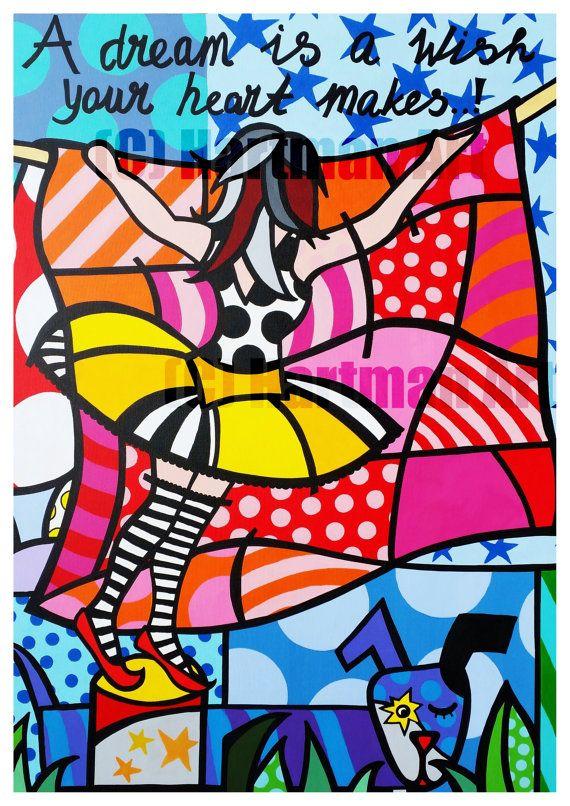 Ballerina colorful happy Art Print Pink dog by ElsHartmanArt