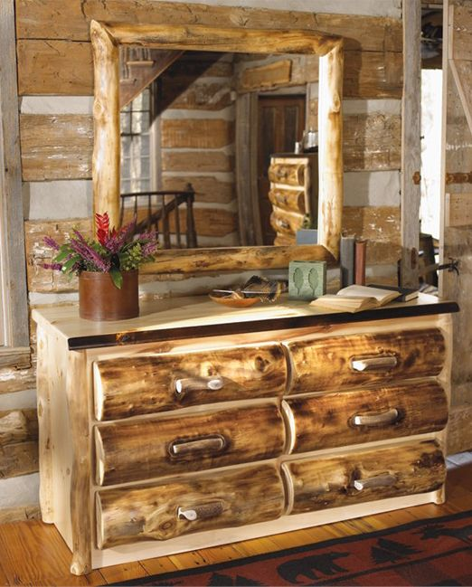 Log Bedroom Furniture, Elk Antler Dresser