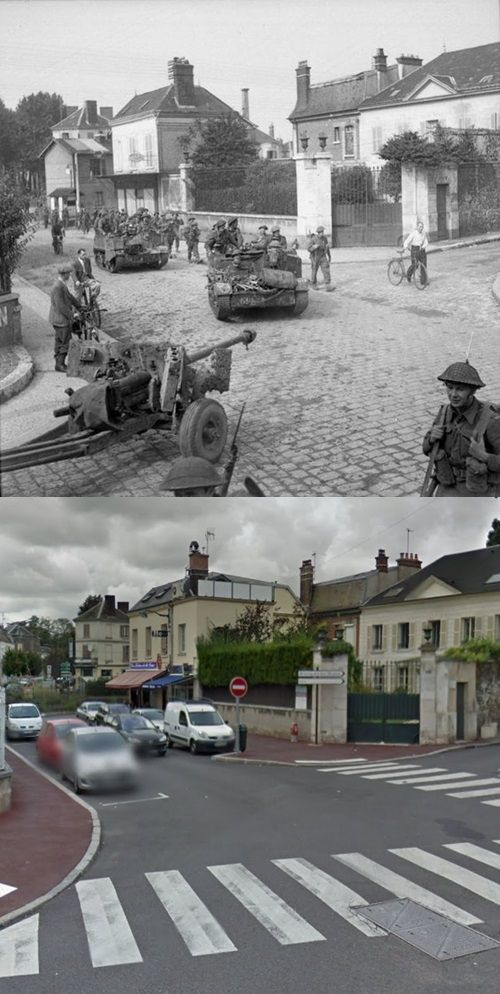 Then and Now WWII. British infantry in Vernon, France, where they will cross the Seine River, 27th August, 1944.