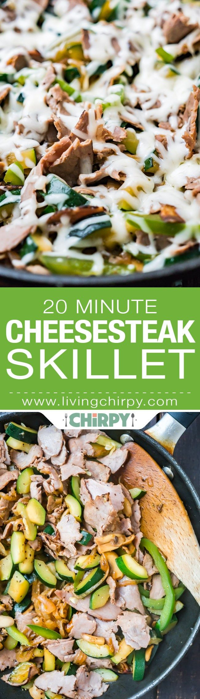 20 Minute Cheesesteak Skillet - - Thinly sliced roast beef, green pepper, onion, mushrooms and zucchini to bulk it up. Topped with some melted provolone. Low Carb, Gluten Free Paleo, Healthy, Quick, Easy
