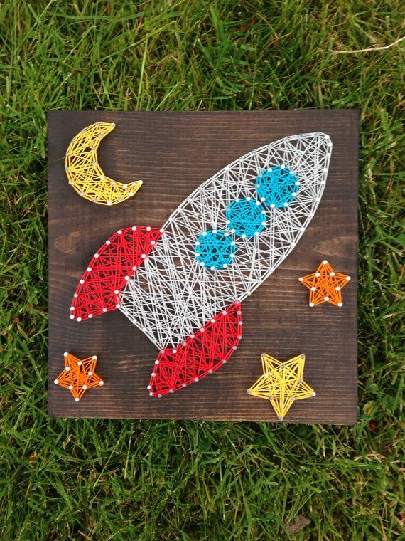 Made To Order Rocketship And Stars Space String By Madebytheneedle Space Theme Bedroomouter