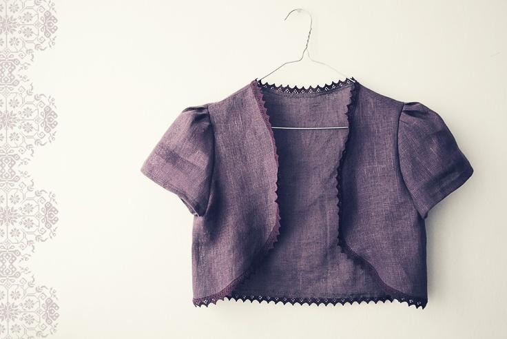 NewYear SALE Linen Raspberry Bolero Jacket