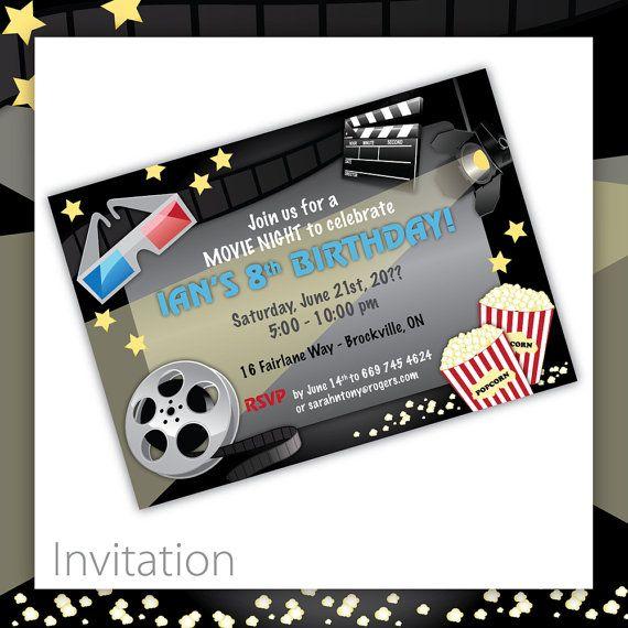 Movie Party Invitations  Movie Night  Kids by BlackCherryPrintable