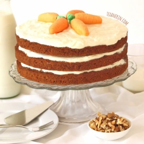 This whole wheat carrot cake is made healthier with whole grains and less sugar!
