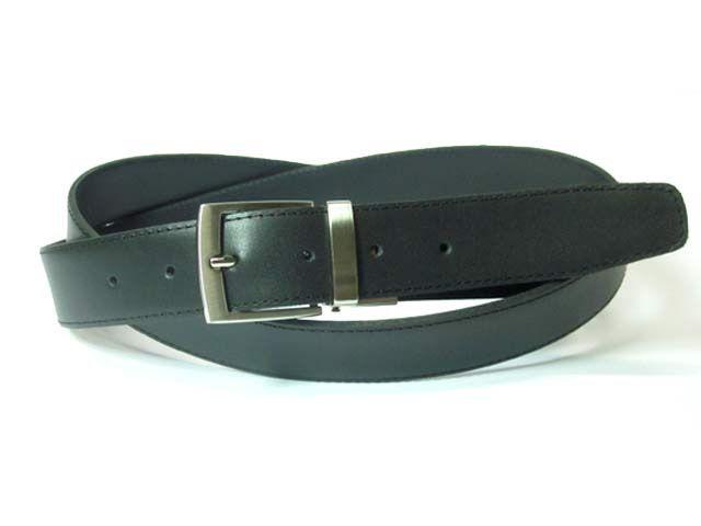 Elegante #Cinturón de vestir #reversible negro mate - azul marino. Hecho a mano y a medida en España. Disponible en www.manosesmas.com.