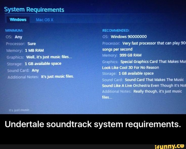 Undertale soundtrack system requirements.