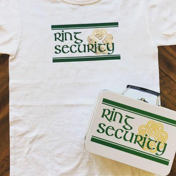 Irish Ring Security Set  T-Shirt Box with Ring Pillow