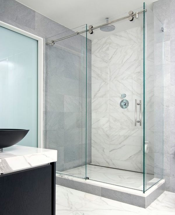 Modern minimalist shower enclosure encased in glass - Main bathroom