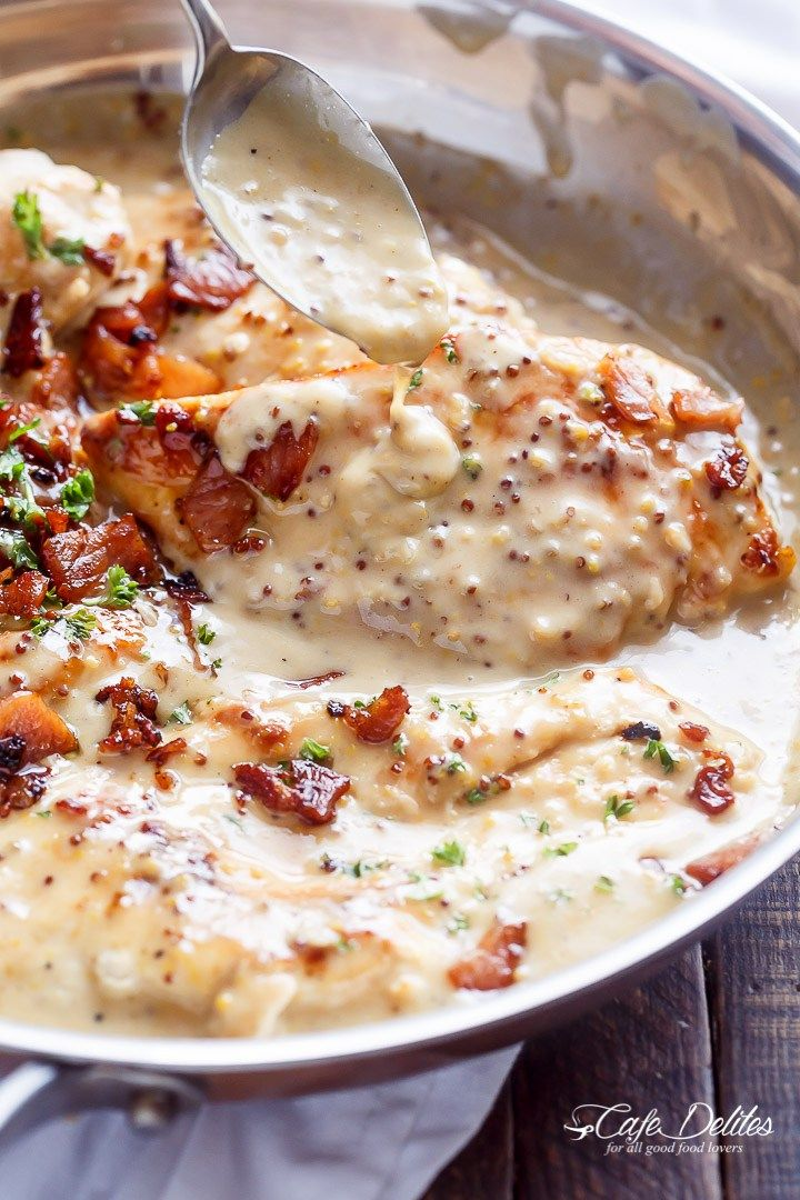 Creamy Honey Mustard Chicken With Crispy Bacon