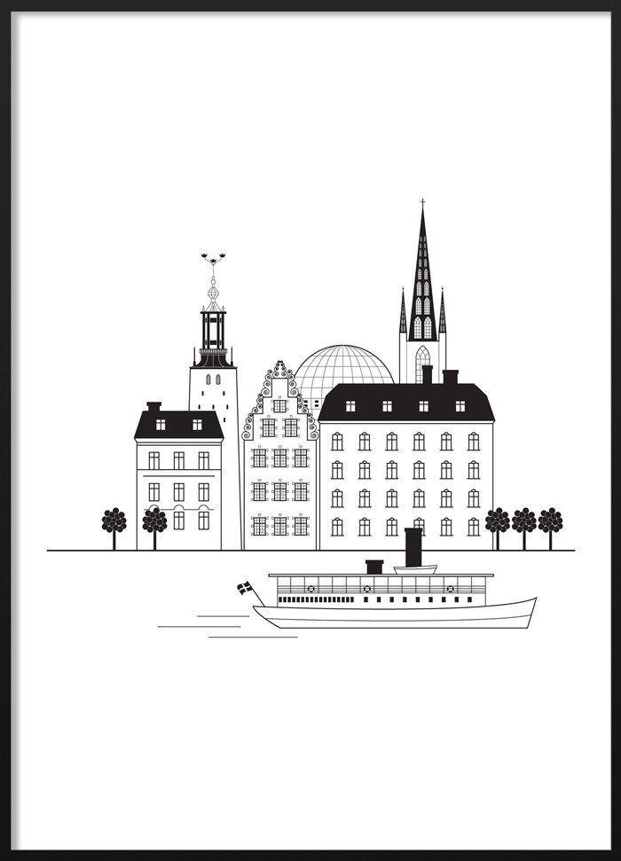Stockholm Silhouette Poster #stockholm #silhouette #skyline #blackandwhite #illustration #scandinavian #poster