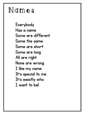 Name poem - would be good for beginning of the school year activities with the book Chrysanthemum