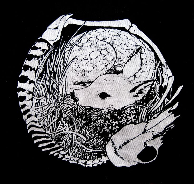 Deer Skeleton Circle Screen Print Back Patch Life and Death Crust Punk. $12.00, via Etsy.