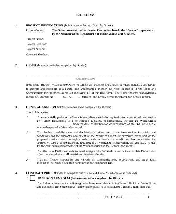 Bid Template For Contractors New Sample Construction Bid Forms 8
