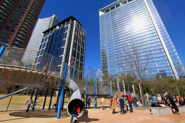 What a fun playground at Discovery Green! (Downtown Houston, Texas)    Photo by Roy Luck via Flickr.