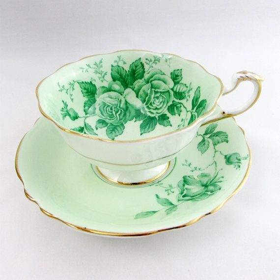 Paragon Green Tea Cup and Saucer with Green Roses, English Bone China, Vintage Tea Cup