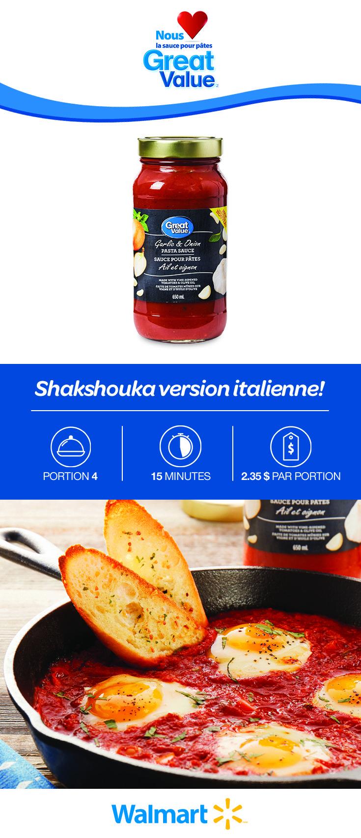 Shakshouka n'est qu'une jolie façon d'appeler des oeufs pochés dans une sauce tomate. Nous avons utilisé notre sauce pour pâtes Great Value, qui ajoute une saveur riche à ce mets satisfaisant à souhait! Cliquez sur le lien pour trouver la recette. #NousAimonsGreatValue #shakshouka #recettesdeshakshouka #oeufspochés #metsauxoeufs #recettesdesouper