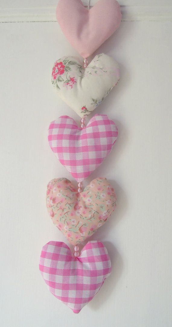Decorative Hanging Hearts Pretty Floral Pink Gingham